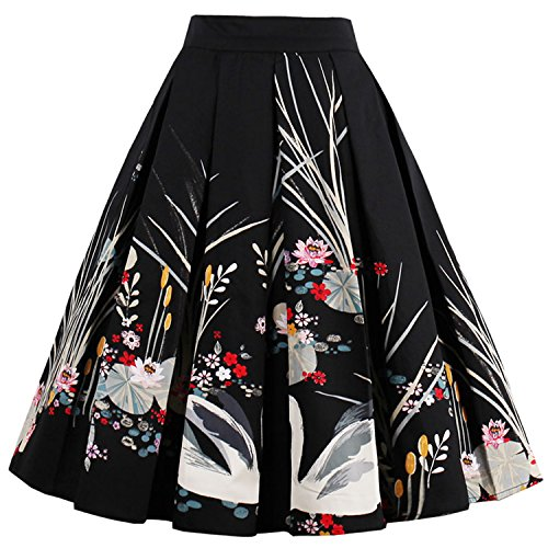 T-Crossworld Women's Vintage A-line Printed Pleated Flared Midi Skirts with Pockets Swan -