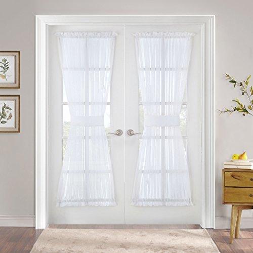 PONY DANCE Sheer Door Curtain - French Door Panel Voile Drapes Dual Rod Pocket Metal Glass Patio Door Light Filter Privacy Protect Tieback, 60 in Wide 72 in Long, White, 1 Piece (Tie Door Back Panel)