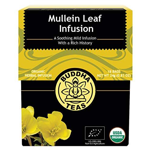 Organic Mullein Leaf Tea - Kosher, Caffeine-Free, GMO-Free - 18 Bleach-Free Tea Bags (Best Tea For Cough And Chest Congestion)