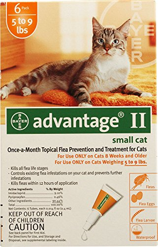 Advantage II Once-A-Month Topical Flea Treatment for Cats & Kittens up to 9 Lbs (6 Applications)