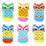Liwely 6 Pairs Baby Girls Boys Socks, Turn Cuff socks for 0 - 6 Months Infants, Owl with Cute 3D ears
