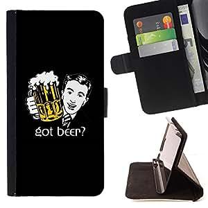 BullDog Case - FOR/Samsung Galaxy S3 III I9300 / - / beer bar pub art foam man tie suit drawing /- Monedero de cuero de la PU Llevar cubierta de la caja con el ID Credit Card Slots Flip funda de cuer