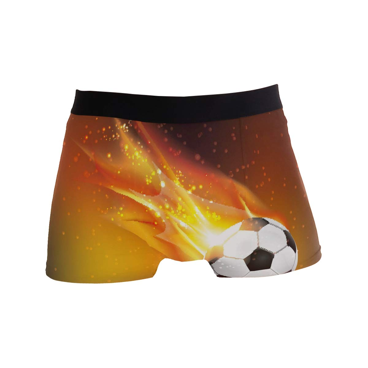 Men Boxer Briefs Polyester Underwear Men 2 Pack Boxer Briefs for Valentines Day with Foot Ball Pattern