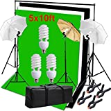 Hakutatz Photography Photo Studio Video Umbrella Lighting Kit 3pcs 45W Light Bulbs Lighting with 3 Backdrop(Green/White/Black) Backdrop Stand Set Kit for Video Studio Portrait Photography Kit