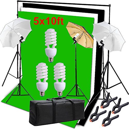 Hakutatz Photography Photo Studio Video Umbrella Lighting Kit 3pcs 45W Light Bulbs Lighting with 3 Backdrop(Green/White/Black) Backdrop Stand Set Kit for Video Studio Portrait Photography Kit by Hakutatz