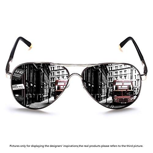 Rocknight Polarized Aviator Sunglasses for Men Metal Frame Flat Top Sunglasses Ultralight Silver-Grey Mirror Lens UV400 - Small Sunglasses Framed