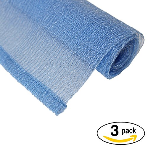 Rough Extra (Nylon Exfoliating Wash & Scrub Polish Towel [Pack of 3]| EXTRA ABRASIVE and LENGTHY(103cm x 31cm)|Increase lather of your body, remove rough and dead skin & unclog pores. Rejuvenates skin (Baby Blue))