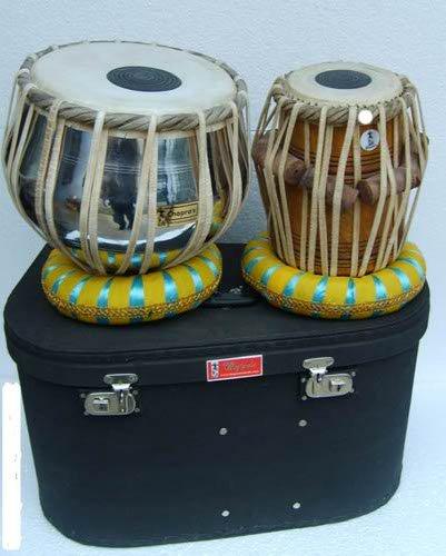 Chopra Tabla Drum Set, Pro Brass Nickel Bayan, Best Dayan with, Hammer, Cushions & Box by Chopra