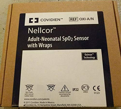 Nellcor SpO2 Sensor OxiMax Adult Neonatal Finger/Toe Sensor with Wraps, Each