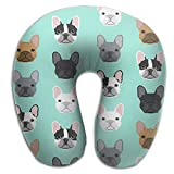 RONG FA French Bulldog Puppy 100% Pure Memory Foam Neck Pillow,Comfortable U Shaped Cushion Neck Pillow With Head And Neck Supports For Airplanes Travel,Car,Driving