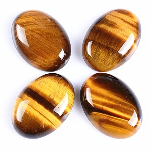 Mix-Stone 5 Pcs 12x16mm Oval Cabochon CAB Flatback Semi-Precious Gemstone Ring Face (Tiger Eye) ()