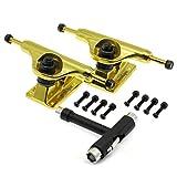 Merkapa Skateboard Trucks Assembly Kit - 5' Hanger 7.6'' Axle with Tool (Set of 2, Golden)