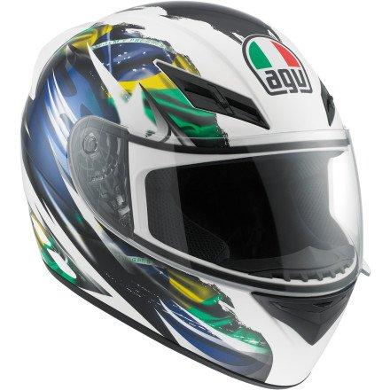 AGV K3 Flag Brazil Full Face Motorcycle Helmet (Multicolor, Medium)