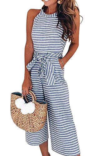 YYW Women Striped Sleeveless Waist Belted Zipper Back Wide Leg Loose Jumpsuit Romper Summer Casual Jumpsuit with Pockets (Blue,US M=Tag L)
