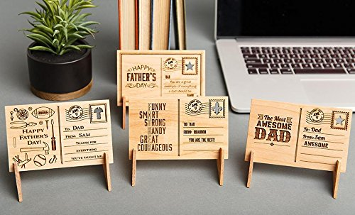 Qualtry Personalized Fathers Day Gift for Dad from Kids, Daughter - Also Custom Engraved Gifts for Grandpa, Wooden Cards for Father (David Design)