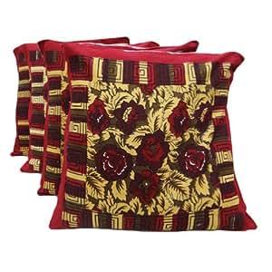 """Puro algodón de la porción de 4 Funda de almohada Home Décor Maroon Floral Print Cojín India Regalo Art 16 pulgadas """""""