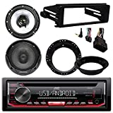 JVC KDR490 CD Stereo Audio Receiver - Bundle Combo With 2x Kenwood 6.5'' Inch Black Coaxial Speakers W/ Adapter Brackets + Radio Dash Kit For 1998-2013 Harley Motorcycle Bikes