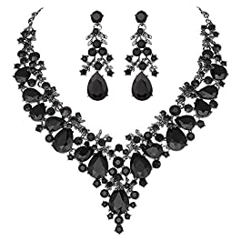 Youfir Bridal Rhinestone Simulated Pearl Necklace Earring Jewelry Set for Brides Wedding Party Dress