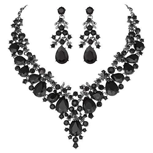 Elegant Necklace Earrings - Youfir Bridal Rhinestone Necklace Earring Jewelry Set for Brides Wedding Party Dress(Black)