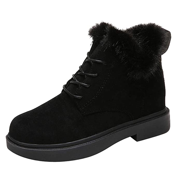 bf58ebabd99 Women Lace-Up Snow Ankle Boots Square Heel Round Toe Suede Short ...