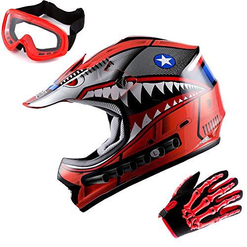 WOW Updated Youth Motocross Helmet Kids Motorcycle Bike Helmet Shark Red + Goggles + Skeleton Red Glove Bundle