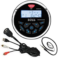 Boss Audio MGR350B Bluetooth In Dash Marine Gauge Style Digital Media AM/FM Receiver Bundle Combo With Enrock USB 3.5MM AUX To RCA Interface Mount Cable + Enrock 22 Wired Radio Antenna