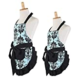 G2PLUS Mother and Child Apron, Aqua Damask Women's Cooking Baking Apron with Pockets, Christmas Mommy & Me Apron Set, Great Xmas Gift for Wife Ladies Kid Girls Daughters (Mama and Me Set)