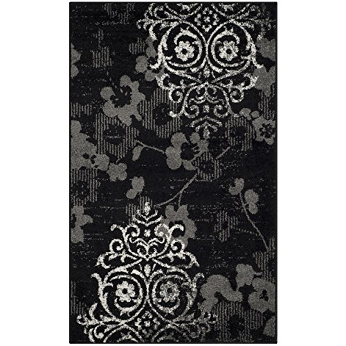 Safavieh Adirondack Collection ADR114A Black and Silver Contemporary Chic Damask Area Rug (2'6