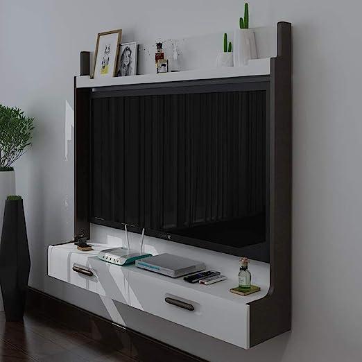 Mueble TV de Pared Router de WiFi Set Top Box Marco de TV Estante de la Pared Estante Flotante Consola Multimedia con Cajon Adecuado para televisores de 46-50 Pulgadas Soporte TV: Amazon.es: