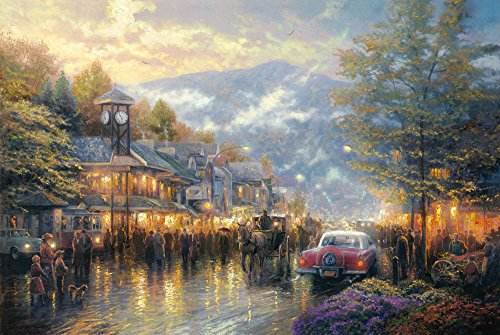 Thomas Kinkade Border (The Period H1180 Thomas Kinkade Mountain Memories, (16x20Inch)Only Canvas Oil Painting Home decoration Living Room bedroom)