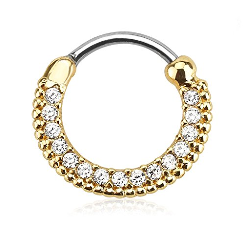 16g 10mm Gold Plated Rounded Top Pave Clear CZ Clicker Hoop for Septum & Cartilage Piercings