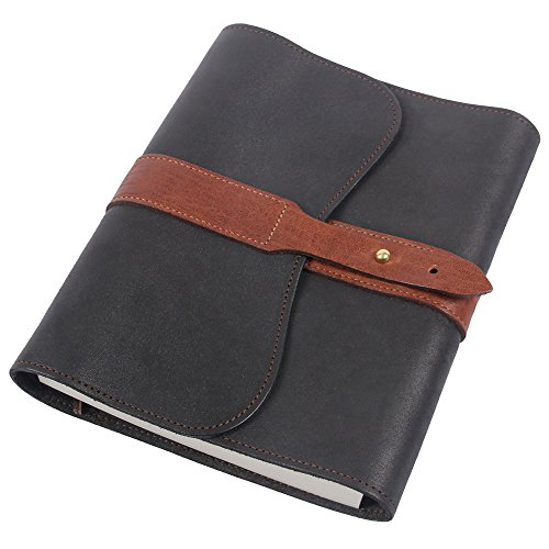 Leather Writing Journal Notebook Black Brown Refillable Unlined Pages by Col. Littleton (Image #1)