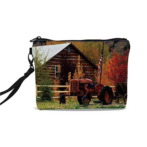 (Fall Simple Cosmetic Bag,Rustic Cabin with Rusty Tractor Country Cottage House Seasonal Colors US Flag Loyalty for Women,9