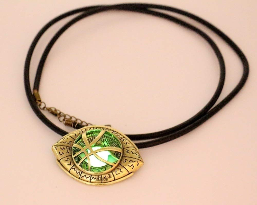 Gold,Necklace moahhally HOT Doctor Strange Necklace Glow in Dark Eye Shape Antique Bronze 6cm4.3cmPendant with Leather Cord Movie Cosplay Jewelry