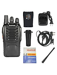 3 Pack Walkie Talkie 16 CH señal de correa UHF 400   470 MHz ammiy Long Range Radio Baofeng BF 888S recargable Two Way Headset construido en linterna LED con cargador de pared (3 unidades de radios)