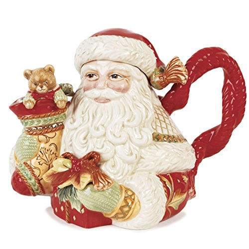 Fitz And Floyd Damask Holiday Collection Santa Teapot, Vi...
