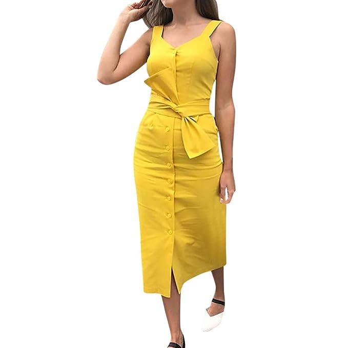 AIni Elegante Vestido De Color SóLido para Mujer,Sin Mangas ...