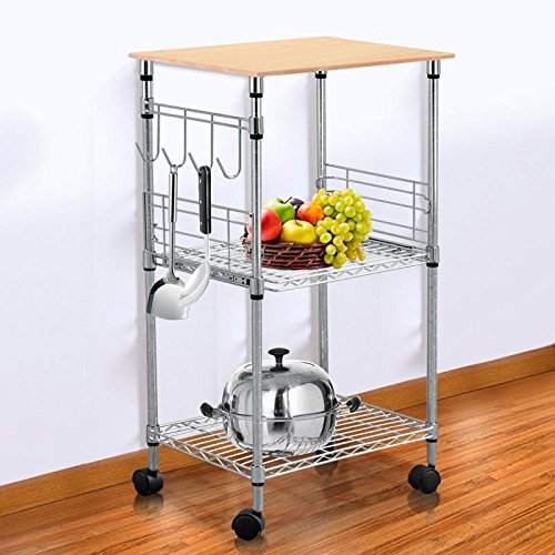 Topeakmart chrome steel wire rolling kitchen cart utility for Perfect kitchen sharjah