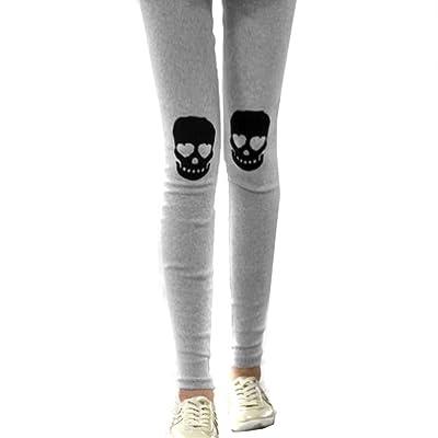 LOCOMO Mujer Diseño de calavera Leggings Skinny Slim talla S-M fft031 - Gris - : Ropa y accesorios