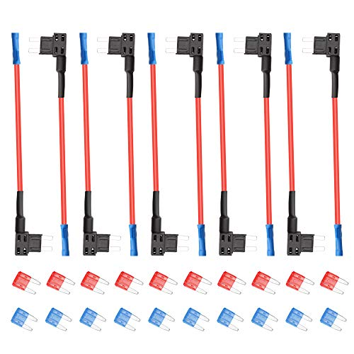 (10 Pack 12V Car Add a Circuit Fuse Tap Adapter, SIM&NAT ATM APM Mini Small Blade Fuse Holder)