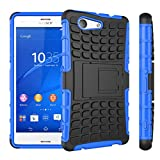 Xperia Z3 Compact Case, ANGELLA-M Built-in Kickstand Hybrid Armor Case Detachable 2in1 Shockproof Tough Rugged Dual-Layer Cover Case for Sony Xperia Z3 Compact 4.6