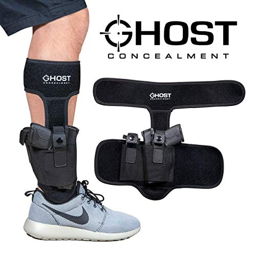 (Ghost Concealment Ankle Holster for Concealed Carry Pistol | Universal Leg Carry Gun Holster with Magazine Pouch | Men and Woman)
