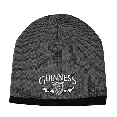 Guinness Beanie Hat with Silver Logo and Black Trim, Grey colour ()