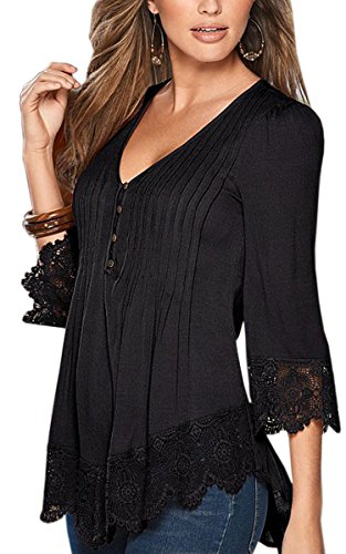 Angashion Women's Flare Sleeve Lace Splice Loose Trim Casual Blouse T-shirt Tops
