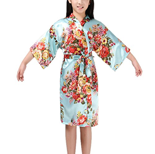 Mobarta Girls' Floral Satin Kimono Robe Flower Girl Bathrobe Getting Ready Robe for Wedding Spa Party Birthday Gift by Mobarta