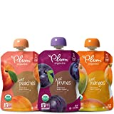 Plum Organics Stage 1, Organic Baby Food, Variety Pack, Prunes, Mangos & Peaches, 3.5 ounce pouches (Pack of 18) (Packaging May Vary)