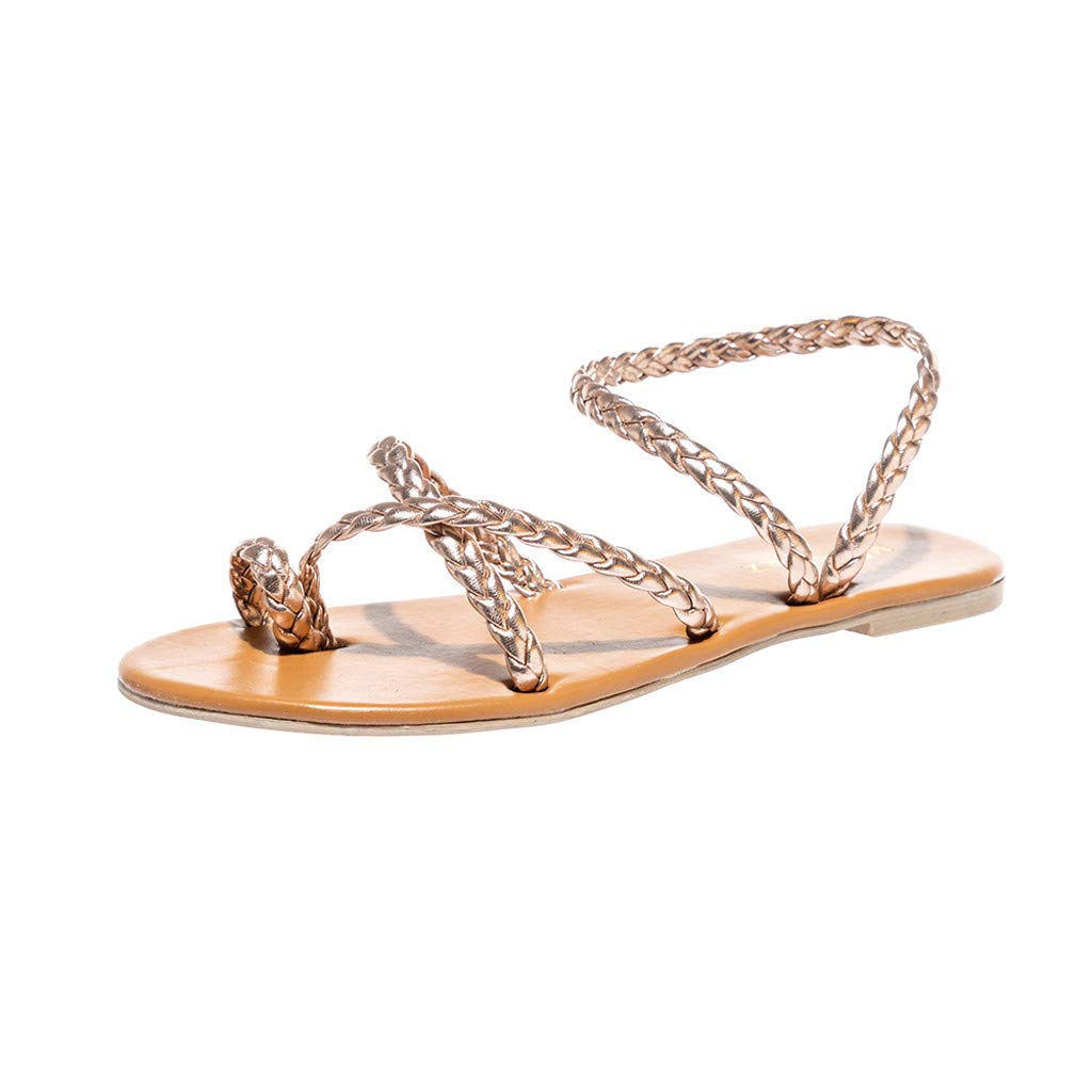 ZOMUSA Women's Spring Summer Woven Flat Heel Slippers Beach Sandals Roman Shoes Rose Gold