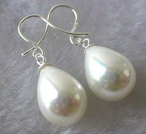 FidgetGear White South Sea Shell Pearl Drop Dangle Earrings AAA+ -
