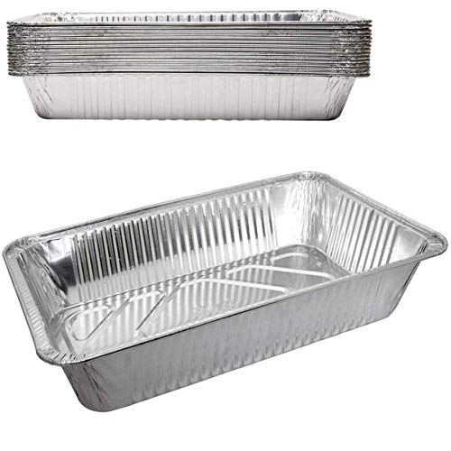 - Durable Disposable Aluminum Foil Steam Roaster Pans, Full Size Deep, Heavy Duty Baking Roasting Broiling 18 X 14 X 3.5 Thanksgiving Turkey Dinner (30)