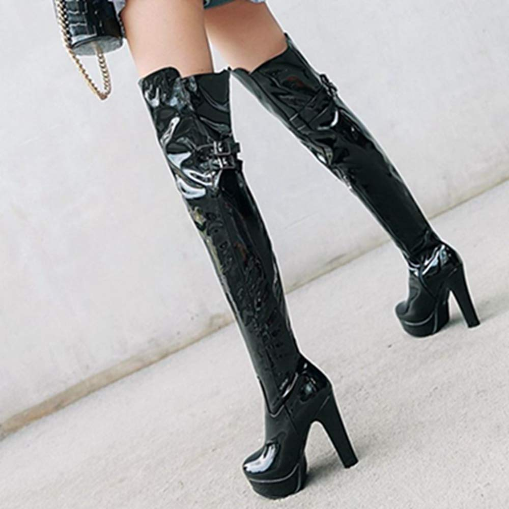 Cocey Damen Damen Damen Plateau über Kniehohe Stiefel mit Blockabsatz f2ac36